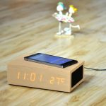 W2 Qi Wireless Charger Wooden LED Clock